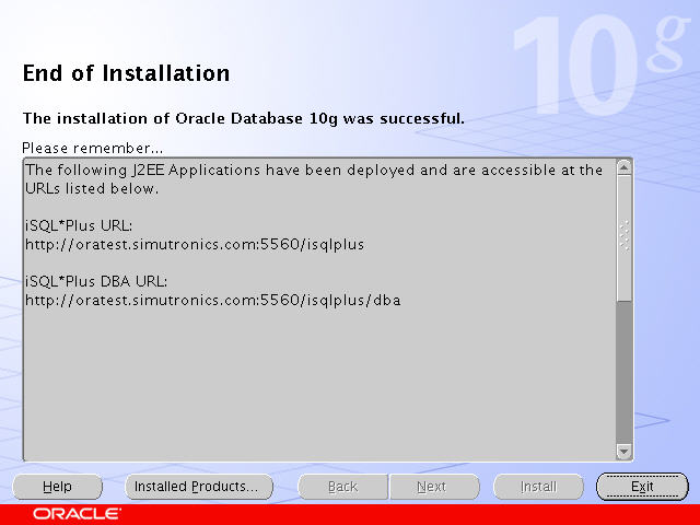 Oracle end of installation.jpg